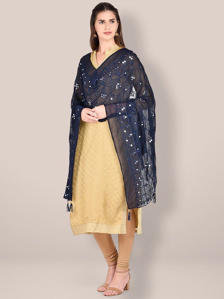 Embroidered Navy Blue Chiffon Dupatta