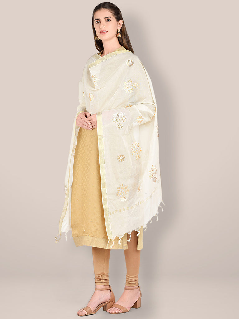 Cream Cotton Dupatta with Gotta Patti Motifs.