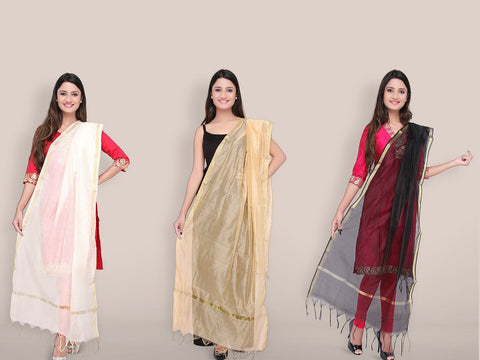 Blended Silk Dupatta Combo Offer ( 3 Dupattas)