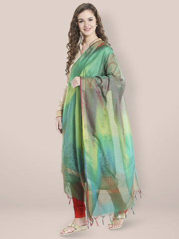 Dupatta Bazaar Woman's Multicoloured Shaded Silk Dupatta - Dupatta Bazaar