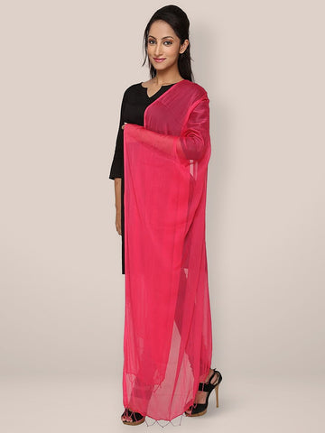 Rani Pink Chiffon Dupatta with Beads on Border