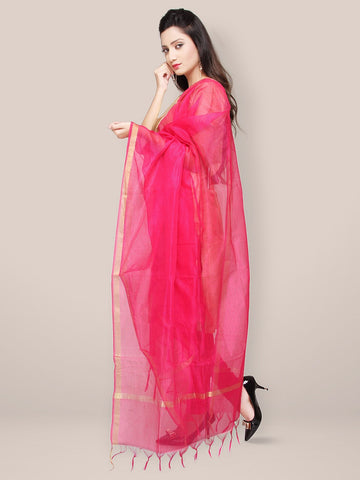 Rani Pink Blended Silk Self Checkered Dupatta
