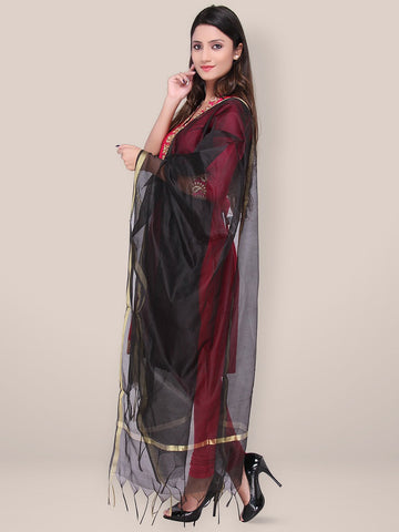 Black Blended Silk Dupatta