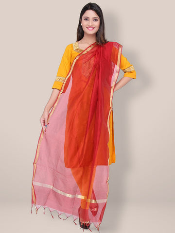 Silk Dupatta with golden border - Dupatta Bazaar