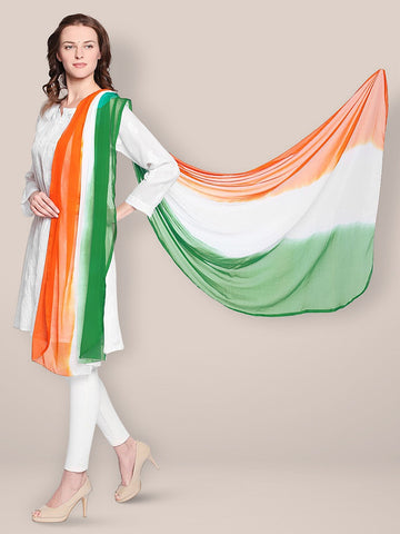 Republic Day Tiranga Tri Colour Chiffon Dupatta
