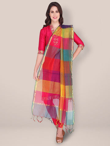 Multi Colour Checkered Blended Silk Dupatta - Dupatta Bazaar