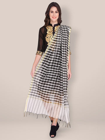 Dupatta Bazaar Women's Black & White Checkered Silk Dupatta
