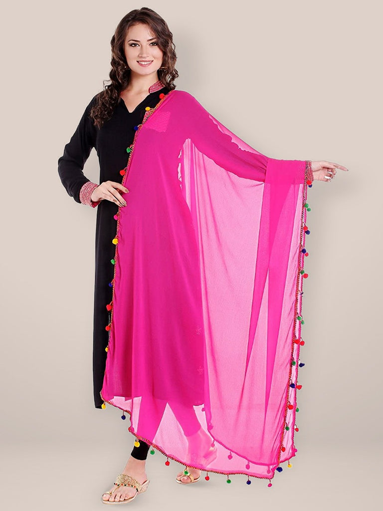 Pink Chiffon Dupatta with Multicoloured Pompom