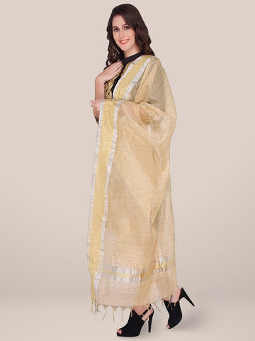 Blended Silk Gold Dupatta with Broad Border - Dupatta Bazaar