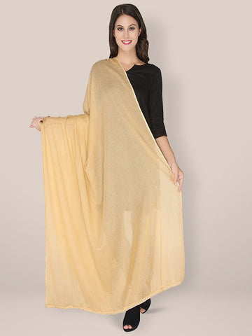 Beige Solid Cotton Dupatta