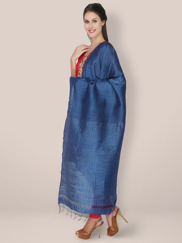 Dark Blue Silk Blend Dupatta