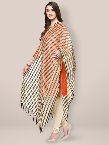 Beige Black Silk Striped Dupatta