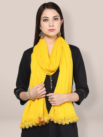 Dupatta Bazaar Women;s Solid Yellow Chiffon Dupatta with lace - Dupatta Bazaar