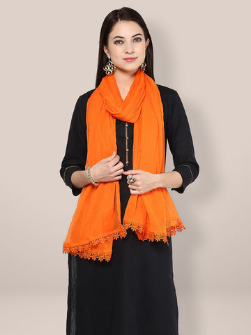 Dupatta Bazaar Women's Solid Orange Chiffon Dupatta with lace - Dupatta Bazaar