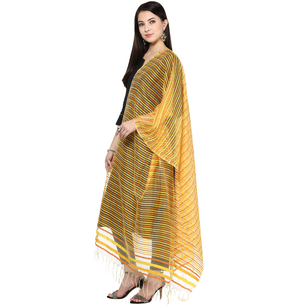 Wonderfully Woven Striped Organza Dupatta - Dupatta Bazaar