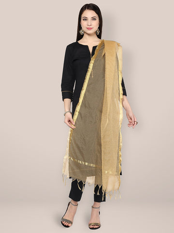 Dupatta Bazaar Women's Gold Art Silk Self Checkered Dupatta - Dupatta Bazaar