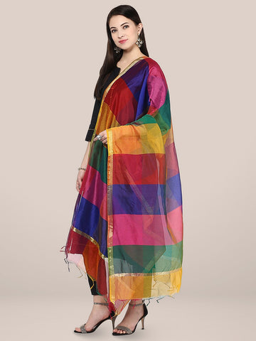 Multicoloured Blended Silk Dupatta