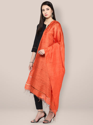 Dupatta Bazaar Women's Orange Cotton Silk Dupatta - Dupatta Bazaar
