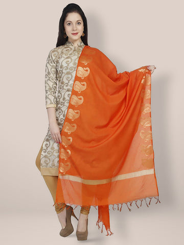 Dupatta Bazaar Women's Orange & Gold Silk Dupatta - Dupatta Bazaar