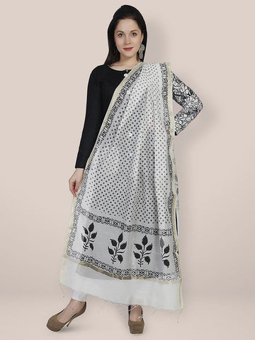Floral Printed Black & White Cotton Silk Dupatta