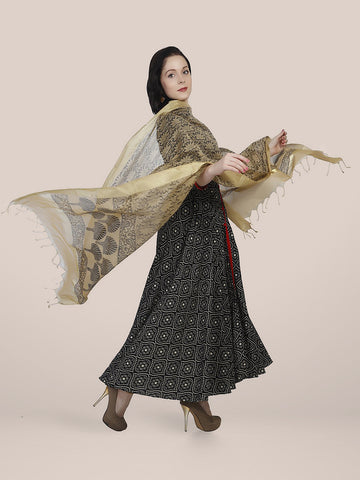 Dupatta Bazaar Women's Printed Gold & Black Cotton Silk Dupatta