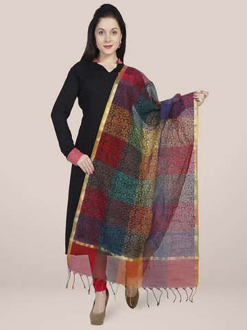 Dupatta Bazaar Women's Printed Multicoloured Cotton Silk Dupatta