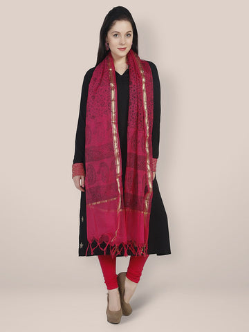 Cotton Silk Magenta & Black Dupatta