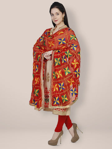 Phulkari Red and Multicolour Chiffon Dupatta