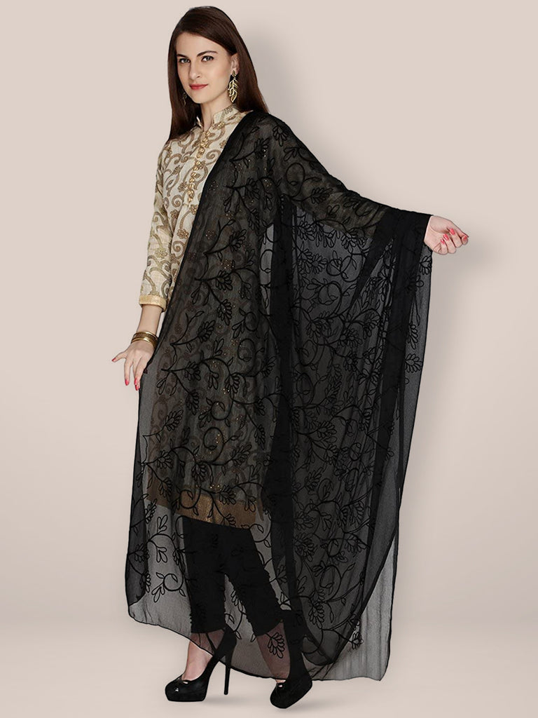 Black Embrodiered Chiffon dupatta