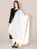 White Chiffon Dupatta with Gold Embroidery and Lace