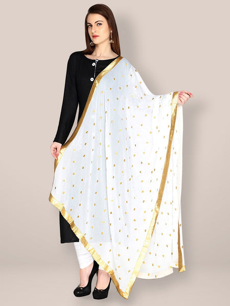 Dupatta Bazaar Woman's White Chiffon Dupatta with Gold Embroidery and Lace - Dupatta Bazaar