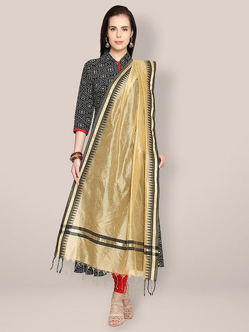 Cotton Gold & Black Silk Dupatta
