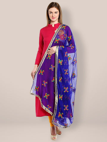 Blue Phulkari Chiffon Dupatta with Multicolour Embroidery