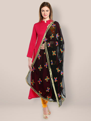 Black Phulkari Chiffon Dupatta with Multicoloured Embroidery