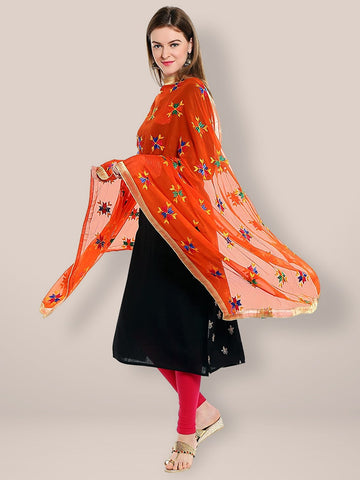 Orange Phulkari Chiffon Dupatta with Multicoloured Embroidery