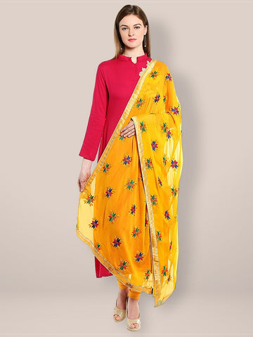Yellow Phulkari Chiffon Dupatta  with Multicoloured Embroidery