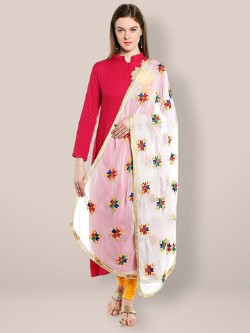 White Phulkari Chiffon Dupatta with Multicoloured Embroidery