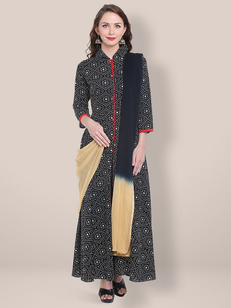 Dupatta Bazaar Women's Beige and Black Chiffon Dupatta.