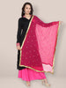 Pink & Gold Embroidered Chiffon Dupatta