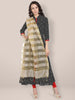 Beige Embroidered Striped Organza Dupatta