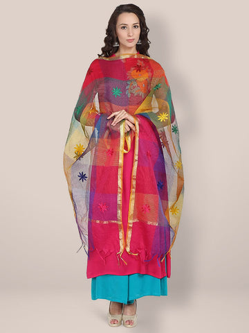 Dupatta Bazaar Woman's Multicoloured Embroidered Cotton Silk Blend Dupatta - Dupatta Bazaar