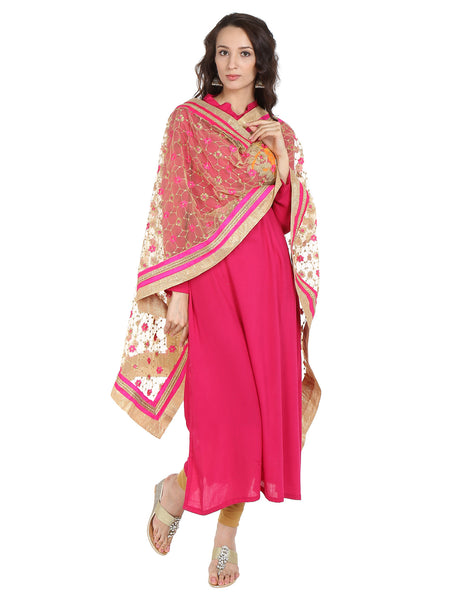 Dupatta Bazaar Women's Embroidered Gold & Pink Net Dupatta/Wedding Dupatta - Dupatta Bazaar