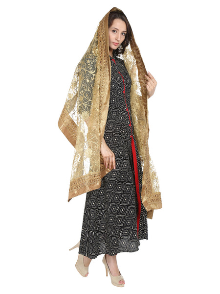 Dupatta Bazaar Women's Embroidered Gold Net Dupatta/Wedding Dupatta - Dupatta Bazaar