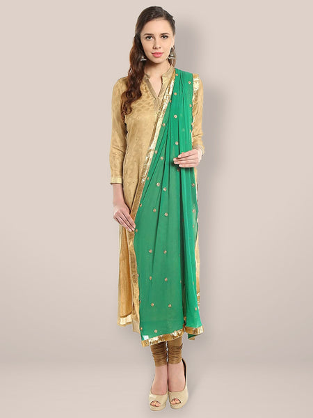 green dupatta for women