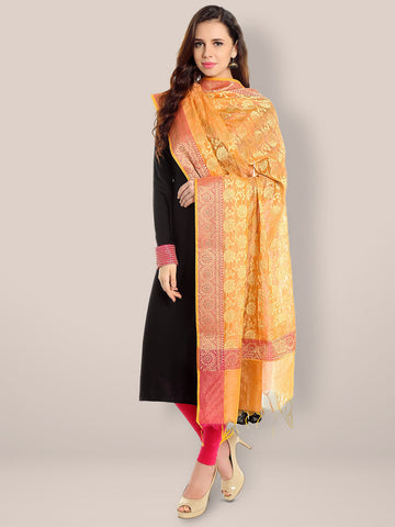 Banarasi Silk Woven Orange & Gold dupatta