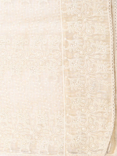 Dupatta Bazaar Women's Off white Cotton Kota Doria dupatta with Lucknowi Embroidery - Dupatta Bazaar