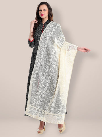 Dupatta Bazaar Women's Off white Cotton Kota Doria dupatta with Lucknowi Embroidery