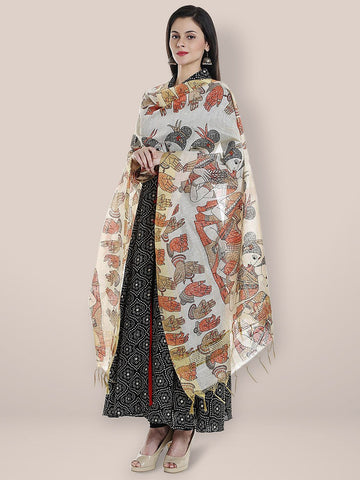 Cotton Silk Printed Orange Dupatta