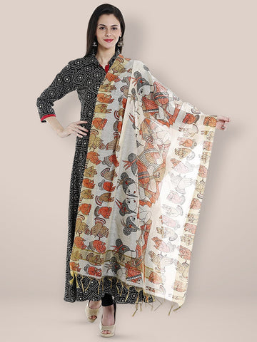Dupatta Bazaar Woman's Cotton Silk Printed Orange Dupatta - Dupatta Bazaar