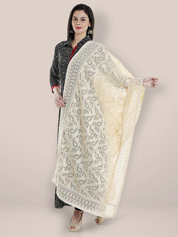 Super Net Off White Dupatta with self design and embroidery on the border.